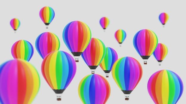 3d-rendering illustratie van kleurrijke hete lucht ballonnen