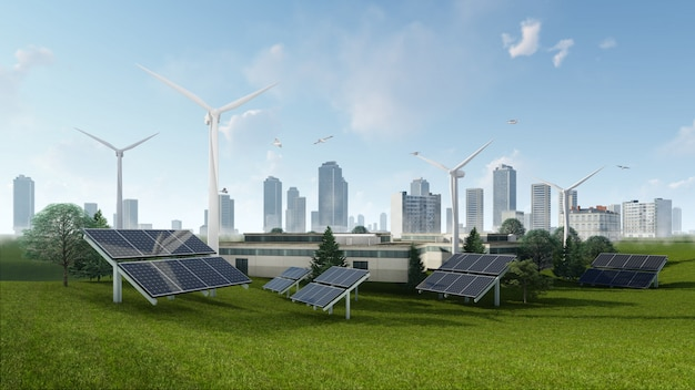 3d-rendering illustratie van zonnecel en windturbine