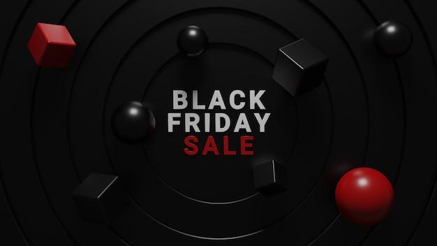 3d-rendering illustratie van zwarte vrijdag