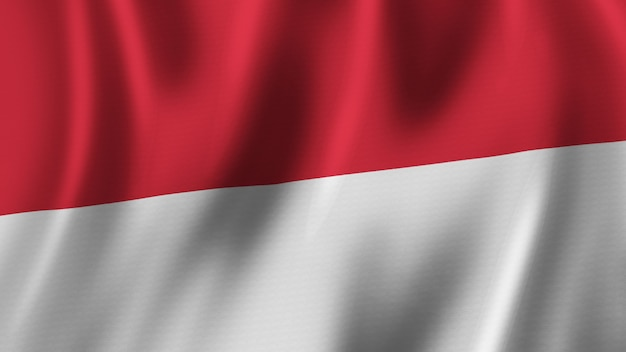 3d-rendering indonesië vlag van zijde met stof gedetailleerde textuur hoge kwaliteit beeldweergave