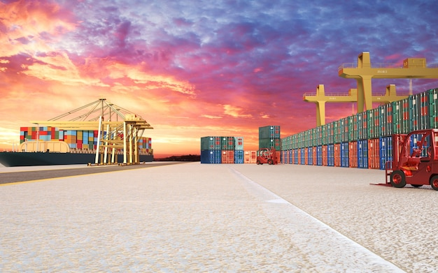3d-rendering industriële haven en container