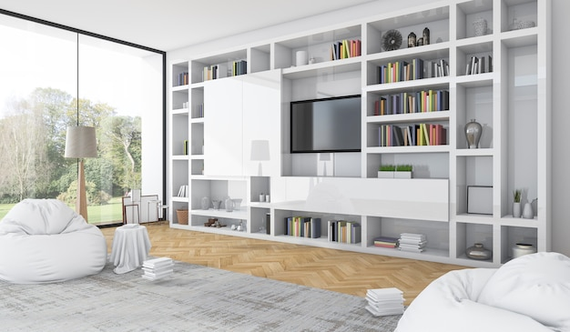 3d-rendering ingebouwde witte plank met zitzak in moderne witte woonkamer