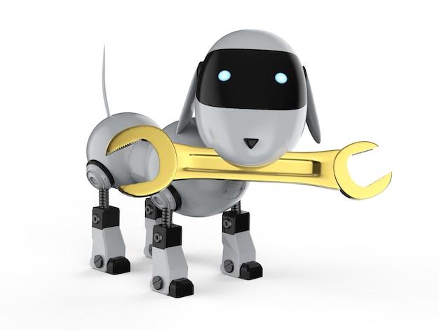 3d-rendering ingenieur hond robot met gouden moersleutel op witte achtergrond