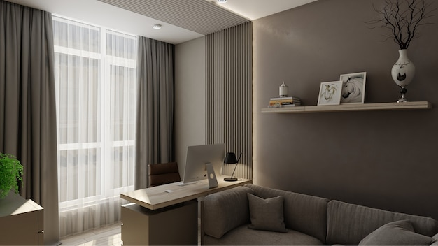 3d-rendering interieur kantoorruimte