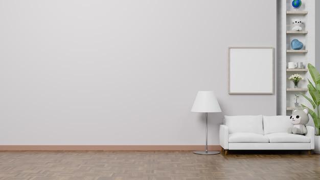 3d-rendering interieur met schattige pop en fotolijst