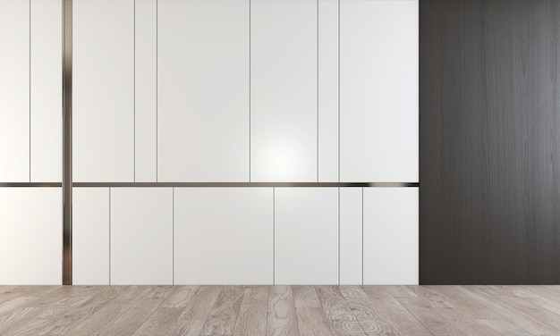 3d-rendering interieur scène van moderne lege lounge en woonkamer en witte en houten muur en houten vloer
