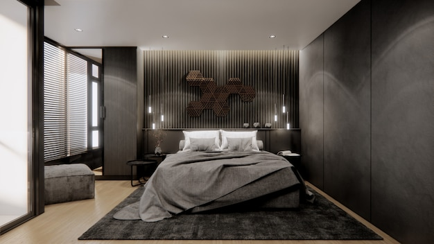 3d-rendering interieur slaapkamer ontwerp.