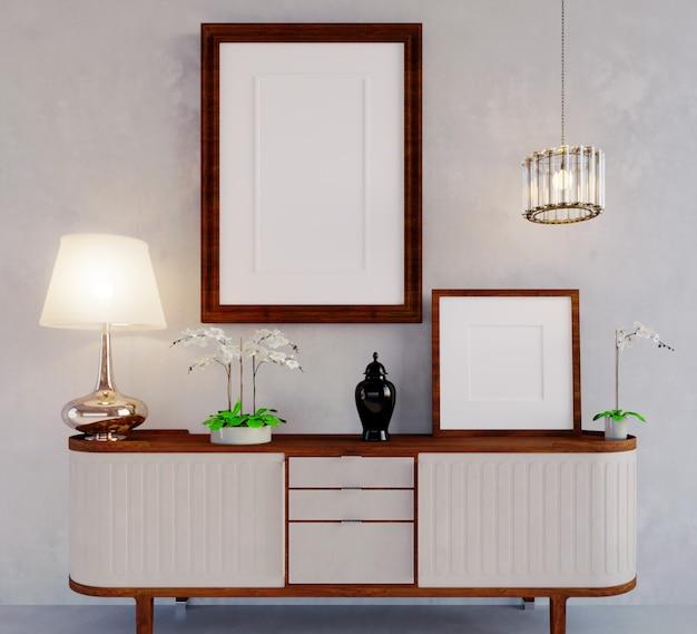 3d-rendering interieurscène en framemodellichtgrijze muren, witte meubels met donker hout