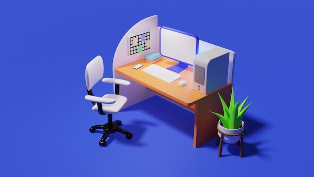 3d-rendering isometrische kantoor met computer op tafel