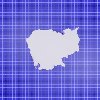 3d-rendering kaart cambodja