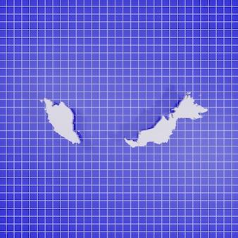 3d-rendering kaart maleisië
