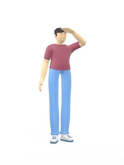 3d-rendering karakter aziatische man hand in het oog, op zoek in de verte. concept van planning, kapitein, perspectief, hoop.
