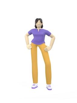 3d-rendering karakter van een aziatisch meisje permanent in een vrije houding.