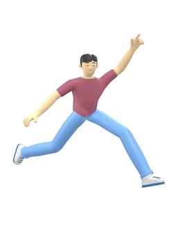 3d-rendering karakter van een aziatische jongen springen en dansen met zijn handen omhoog. positieve illustratie