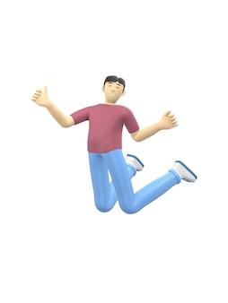 3d-rendering karakter van een aziatische jongen springen en dansen met zijn handen omhoog.