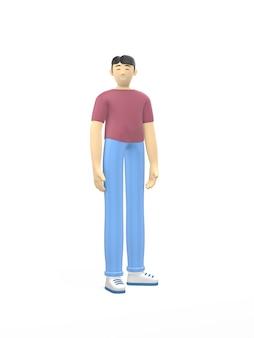 3d-rendering karakter van een aziatische man in een vrije houding. happy cartoon mensen