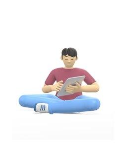 3d-rendering karakter van een aziatische man zit in lotushouding met een tablet. het concept van studie, business, leider, startup.