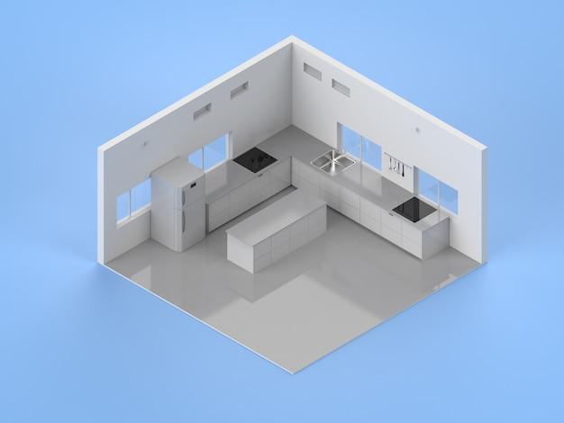 3d-rendering keuken interieur met aanrecht en koelkast isometrisch