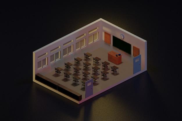 3d-rendering klaslokaal isometrisch., 3d-afbeelding. terug naar school.