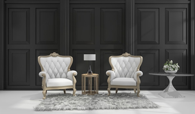 3d-rendering klassieke fauteuil in zwarte klassieke kamer