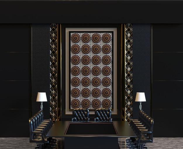 3d-rendering klassieke luxe zakelijke vergaderzaal met muur versieren