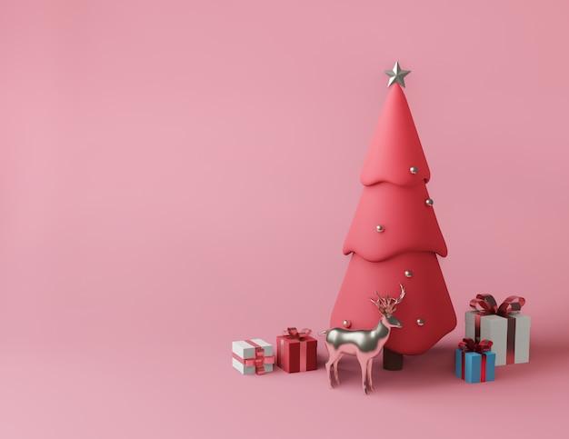 3d-rendering kleine geschenkdozen en metallic roze kerstboom