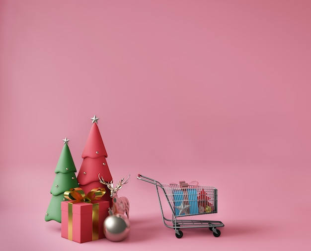 3d-rendering kleine geschenkdozen, winkelwagentje en kerstbomen
