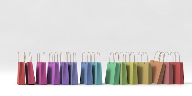 3d-rendering kleurrijke boodschappentas