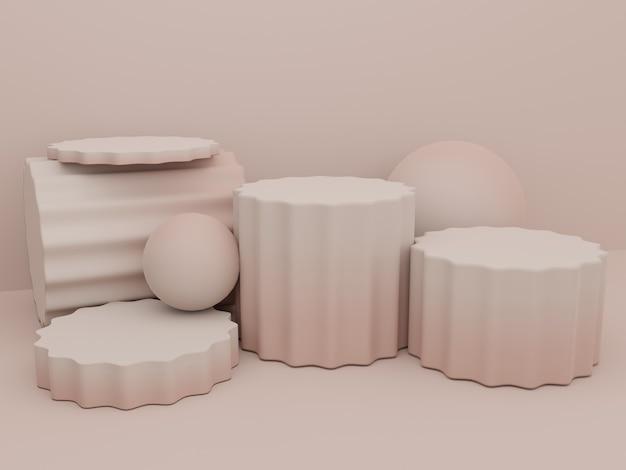 3d-rendering kleurverloop studio-opname productweergaveachtergrond met platform met ronde pilaar