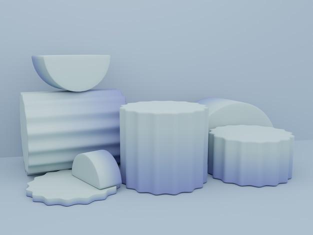 3d-rendering kleurverloop studio-opname productweergaveachtergrond met platformblok met ronde pilaar