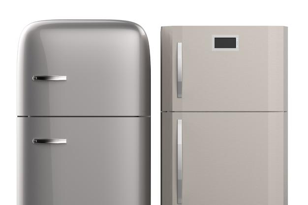 3d-rendering koelkasten in twee stijlen