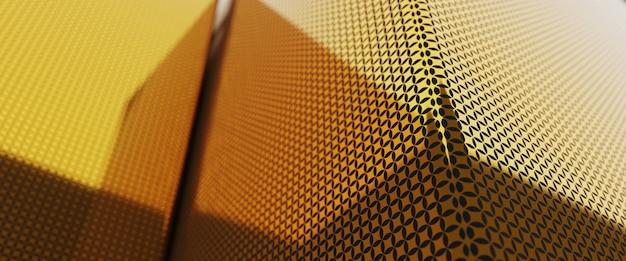 3d-rendering kort golden ridge luxe kubussen achtergrond.