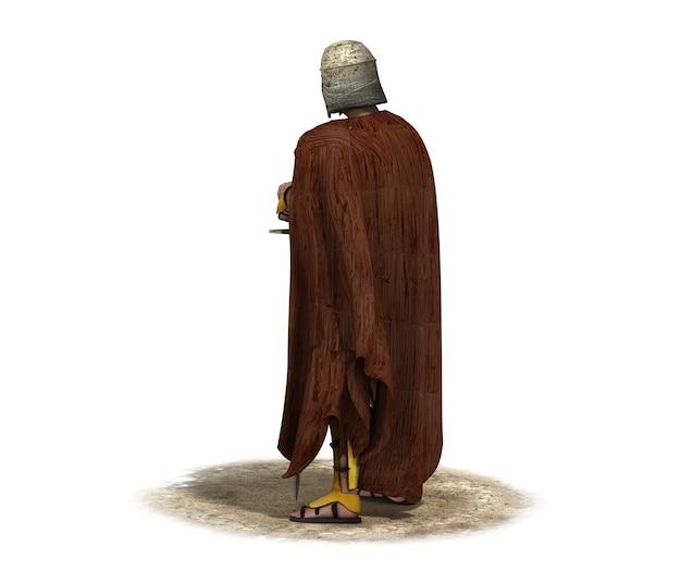 3d-rendering krijger karakter illustratie