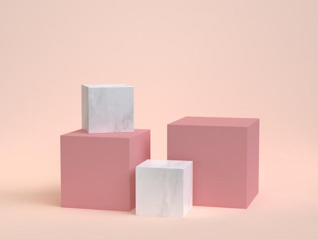 3d-rendering kubus-box witte marmeren minimale crème