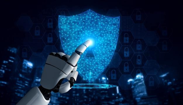 3d-rendering kunstmatige intelligentie ai-onderzoek van robot- en cyborgontwikkeling