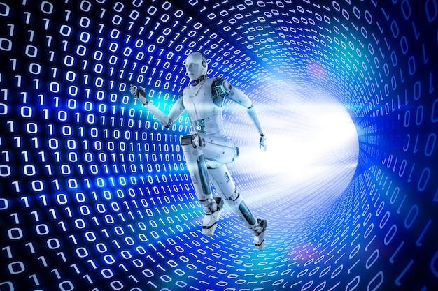 3d-rendering kunstmatige intelligentie robot met binaire tunnel achtergrond