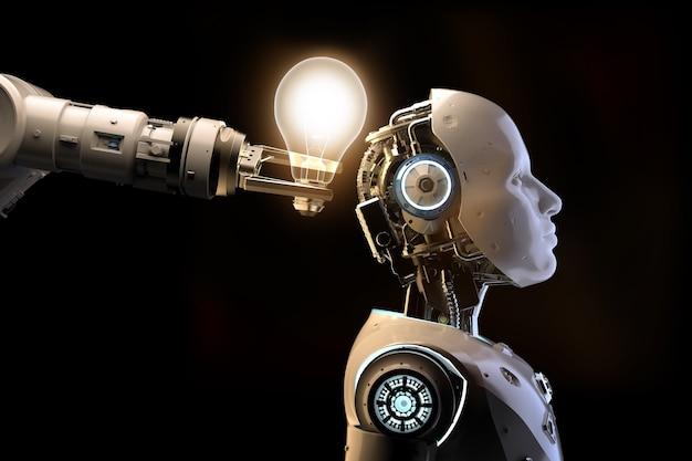 3d-rendering kunstmatige intelligentie robot of cyborg met glanzende gloeilamp geïsoleerd op zwarte achtergrond