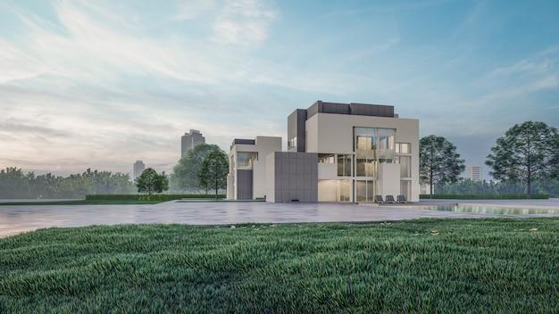 3d-rendering land, onroerend goed, chalet, venster, werf, eigendom, woning, bewoner, modern, ontwerp, kunst, architectonisch, buitenkant van het gebouw, beton, terras, 3d, weergave, 3d-weergave, mooi