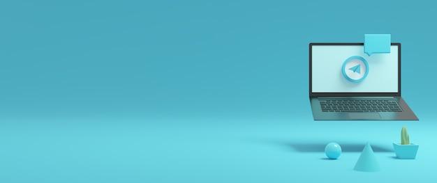 3d-rendering laptop en telegram-logo-ontwerp