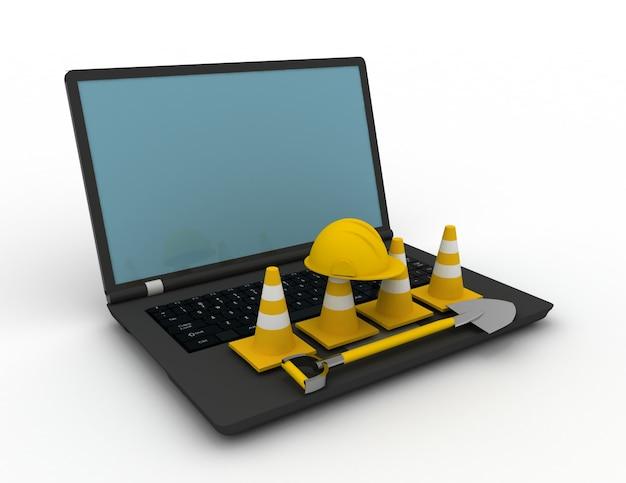 3d-rendering laptop met verkeerskegels. 3d-gerenderde afbeelding
