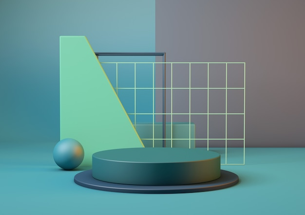 3d-rendering lean product sokkelplatform in blauwe en groene kleuren