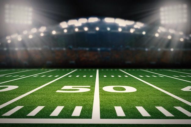 3d-rendering leeg amerikaans voetbalveld met stadion