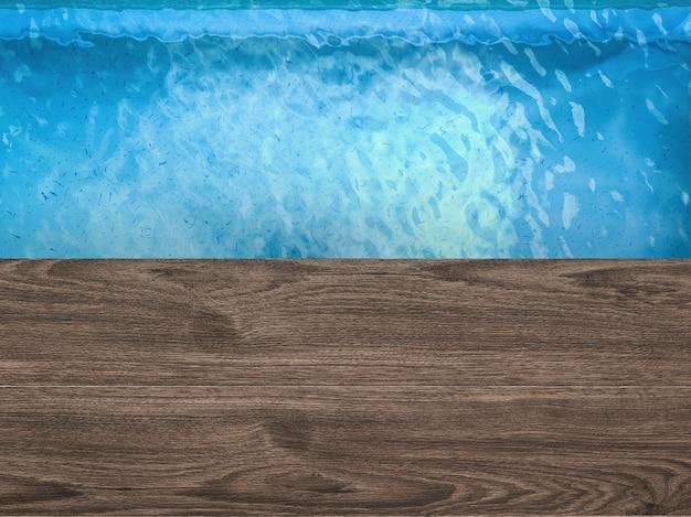 3d-rendering leeg bovenaanzicht van het zwembad met houten vloer