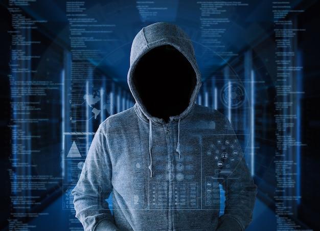 3d-rendering leeg gezicht hacker in serverruimte