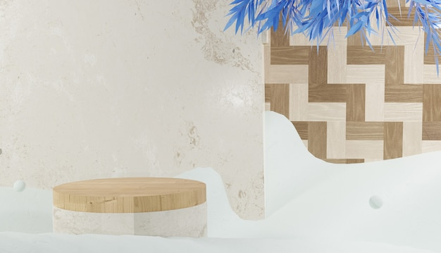 3d-rendering leeg houten podium en bladeren omgeven door sneeuw winter thema