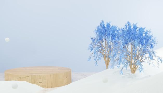 3d-rendering leeg houten podium en bomen omgeven door sneeuw winterthema
