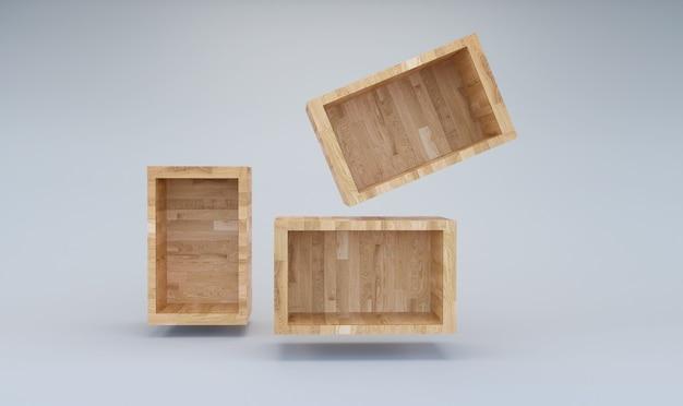3d-rendering lege houten doos