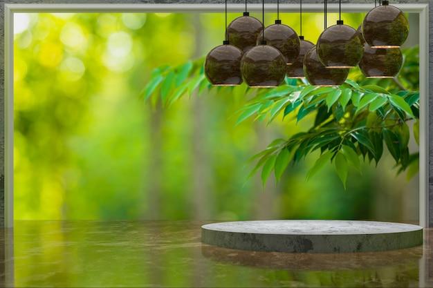 3d-rendering, lege marmeren tafel voor weergave van producten in groen tuinpark