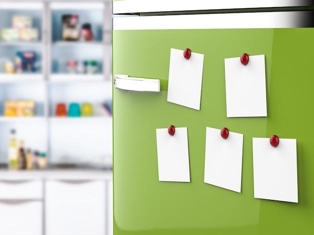 3d-rendering lege notities op groene koelkast