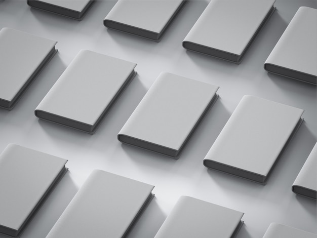3d-rendering lege omslagboeken op witte achtergrond